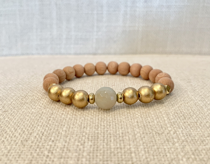 Rosewood Essential Oil Bracelet With Gold/Amazonite Bead Accent