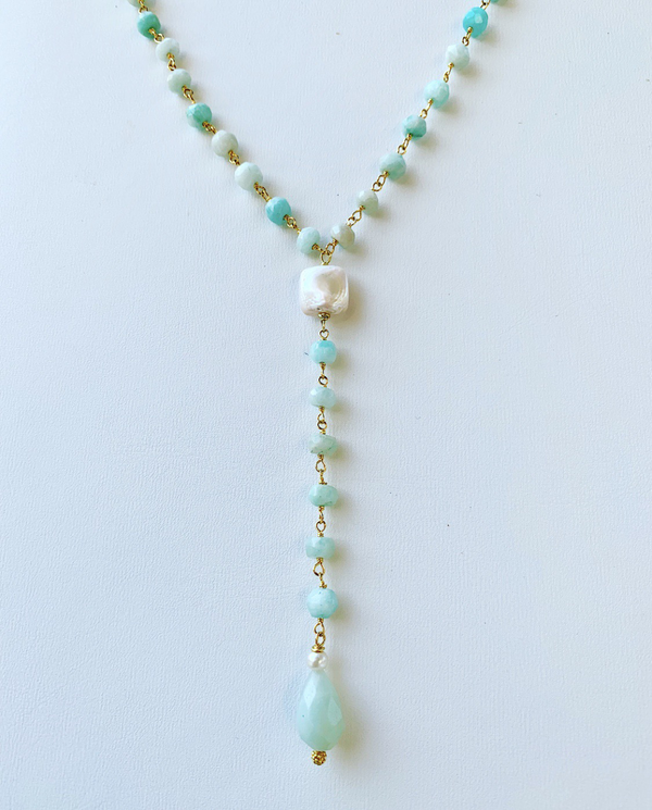 Amazonite And Pearl Y Drop Necklace