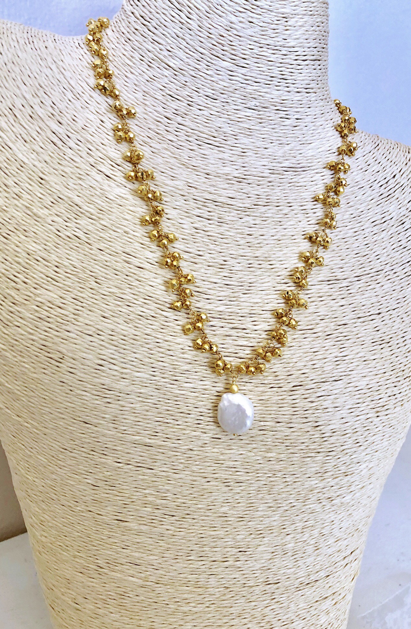 Gold Pyrite Dangle With Coin Pearl