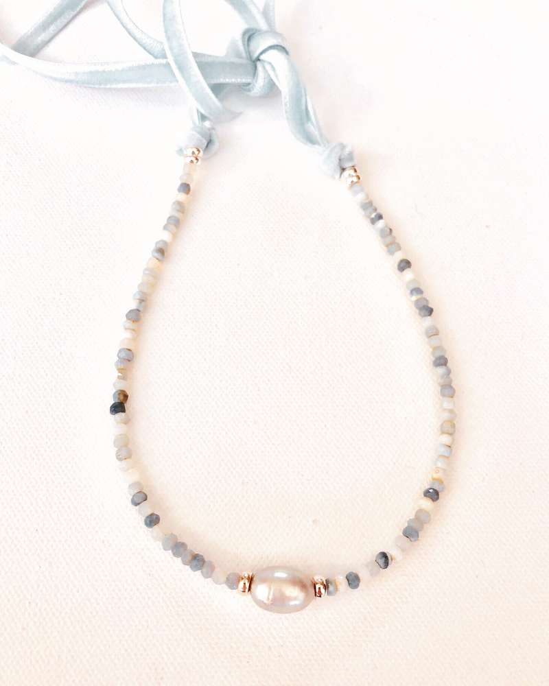 Blue Opal and Dove Gray Pearl Focal With Velvet Tie