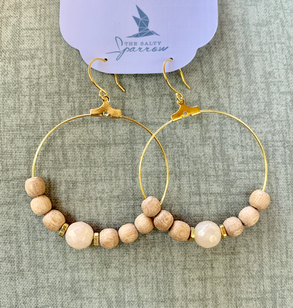 Peach Moonstone Diffuser Earrings (gold)