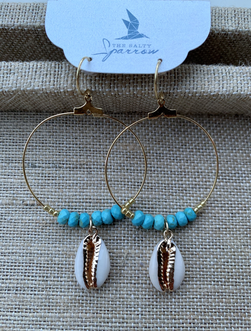 Turquoise Puka Shell Earrings (gold)