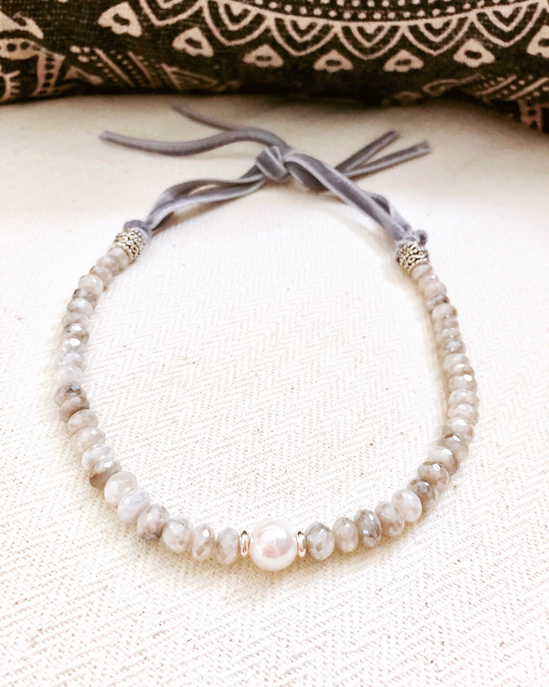 Gray Moonstone with Freshwater Pearl Focal and Gray Velvet Tie