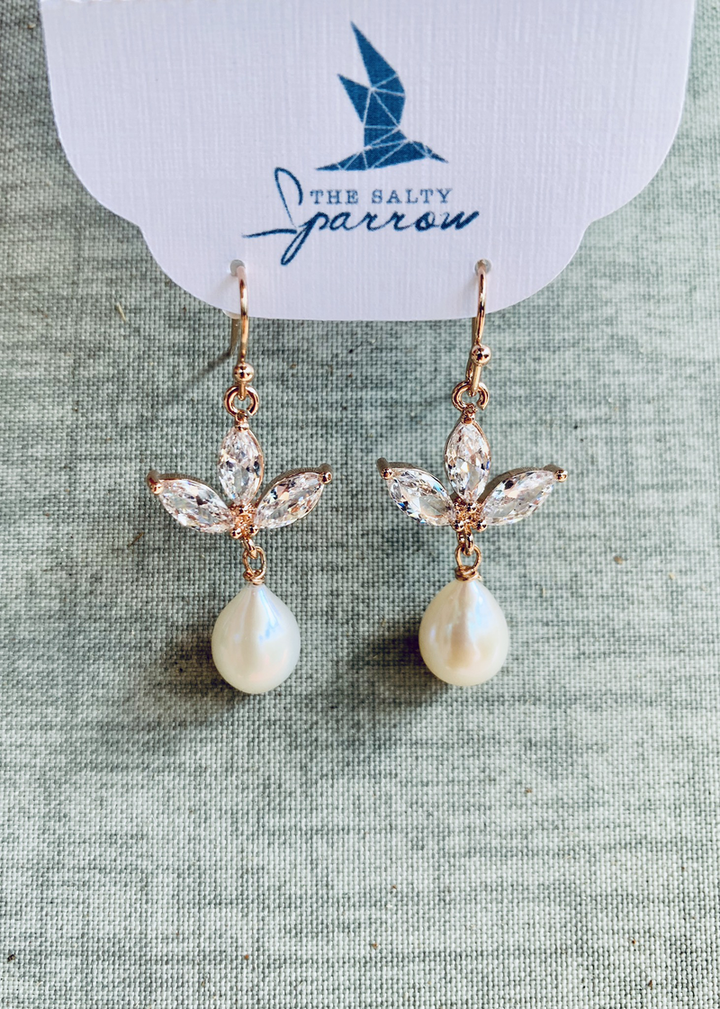 Rose Gold Pearl/quartz earrings