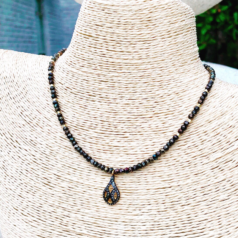 Midnight Pyrite Stones with Pave Diamond Drop Pendant