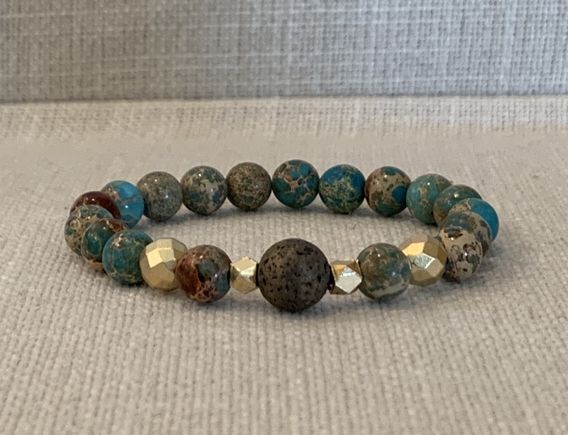 Teal/brown Sea Sediment Jasper Diffuser Bracelet