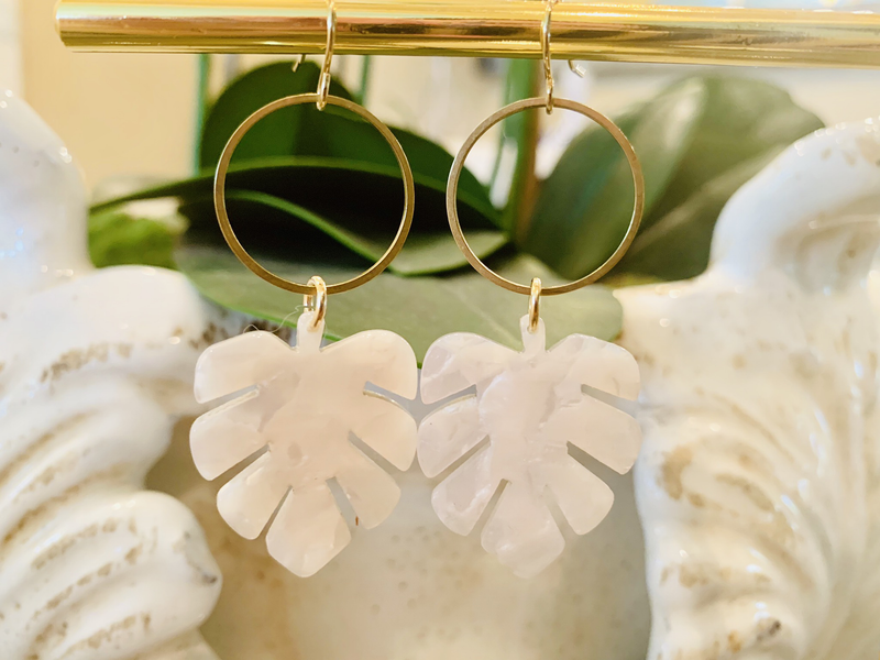 Lucite White Leaf Dangle
