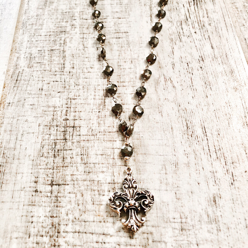 Sterling Silver Fleur De Lis Pendant with Button Pyrite Stones