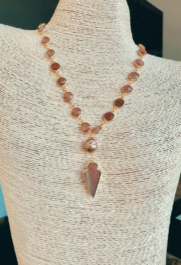 Strawberry Quartz Bezels with Baroque Pearl And Druzy Arrowhead
