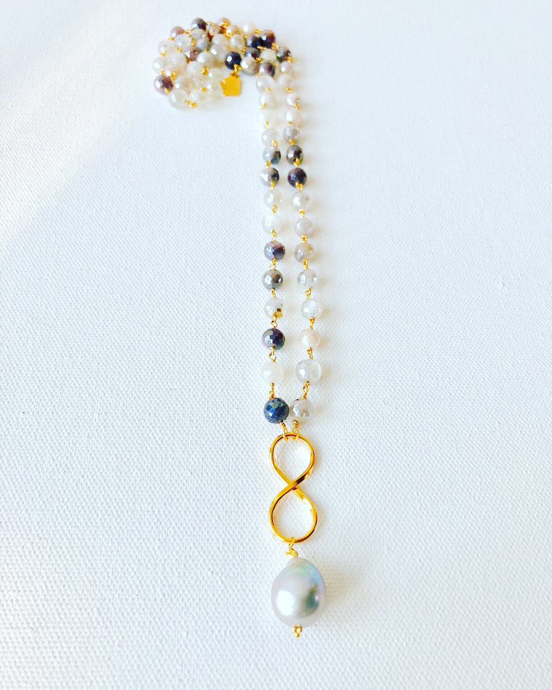Ombre Mystic Moonstones with Harbor Gray Baroque Pearl