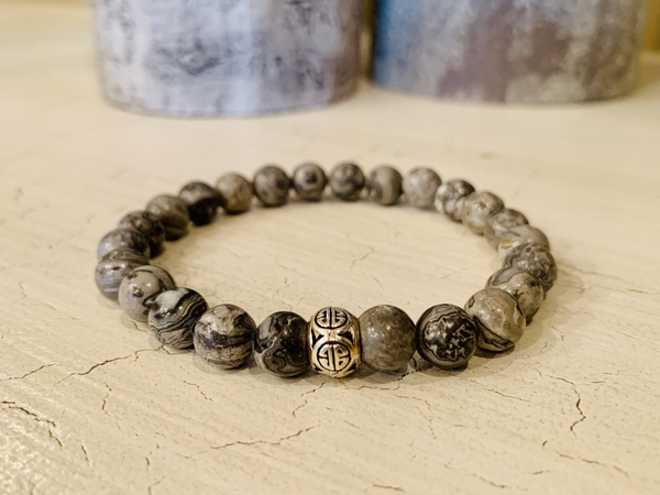Men's 8mm Gray Jasper Bracelet