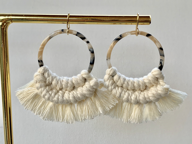 Blonde Tortoise Hoop Macrame Earrings
