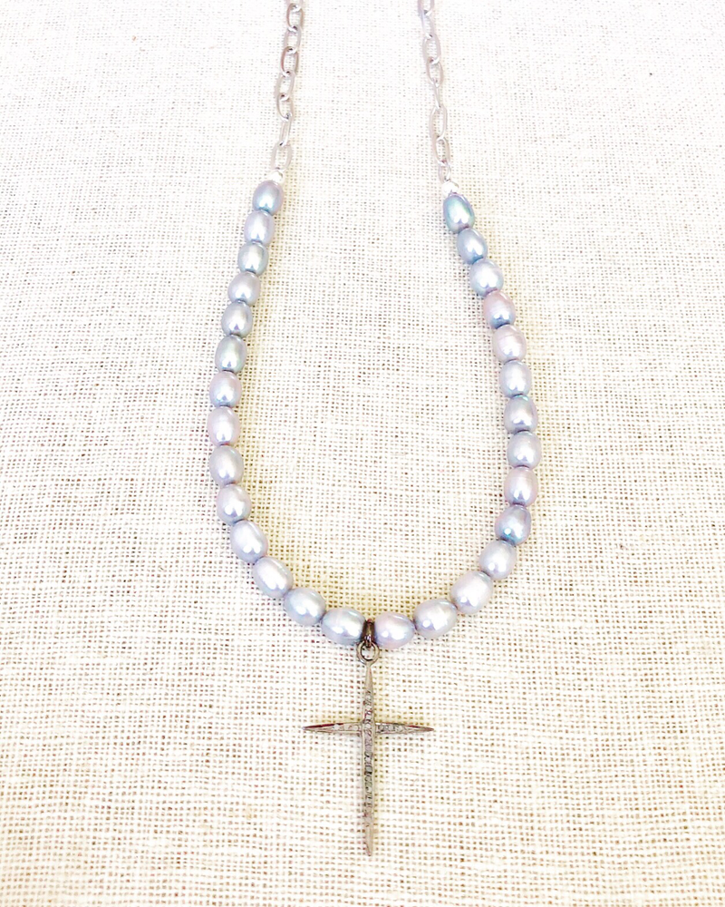 Dove Gray Rice Pearls With Pave Diamond Cross & Sterling Silver Chain