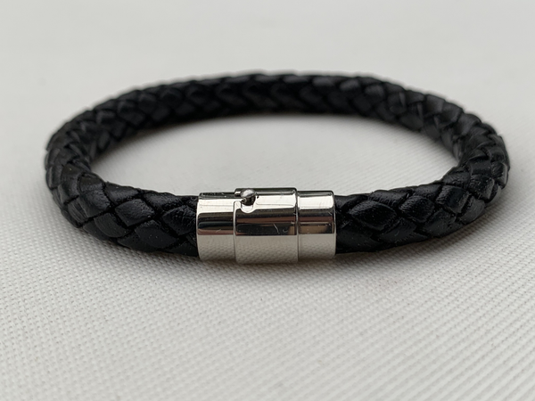 Mens' Black Braided Leather Bracelet