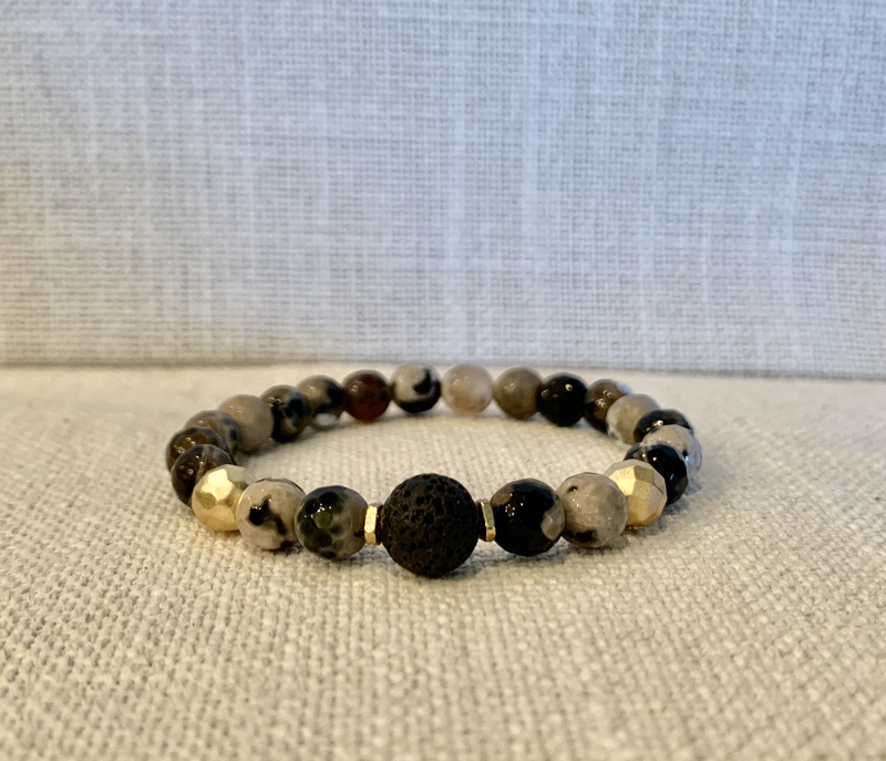 Black And Tan Marbled Agate Diffuser Bracelet