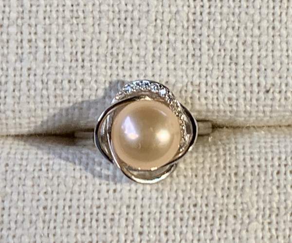 Gold Pearl Ring (Sterling Silver)