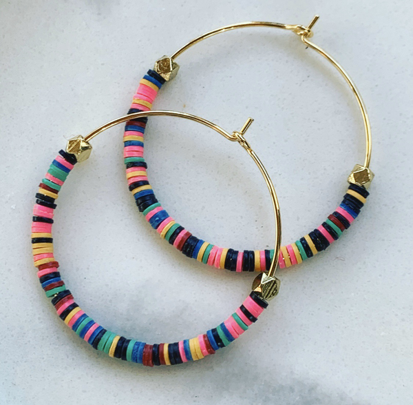 Multi Color Heishi Hoops (gold)