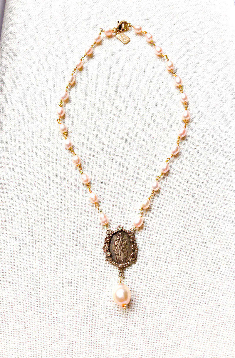 Blush Freshwater Pearls with Bronze Religious Connector
