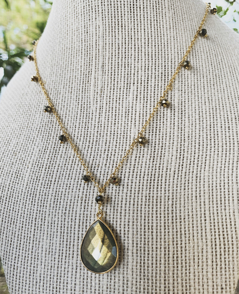 Pyrite Dangle Necklace With Labradorite Pendant