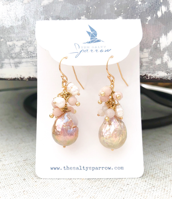 Mauve Baroque Pearls With Freshwater Pearls/Moonstones