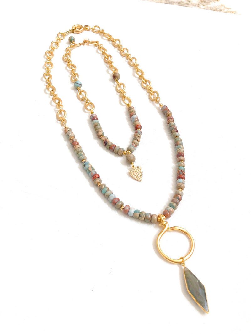 Imperial Jasper and Gold filled Chain with Labradorite Pendant (longer necklace)