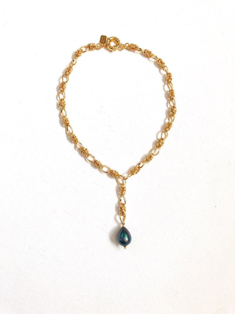 Gold Filled Chain With MOP Pearl Drop
