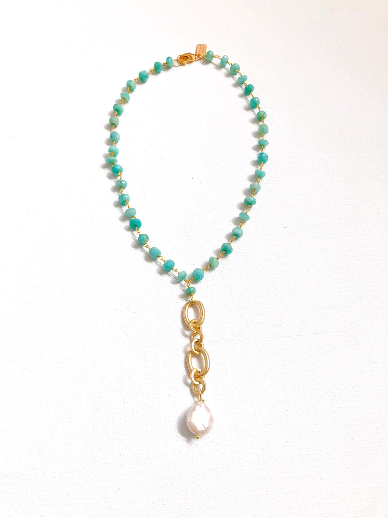 Amazonite with Paddle Pearl Pendant