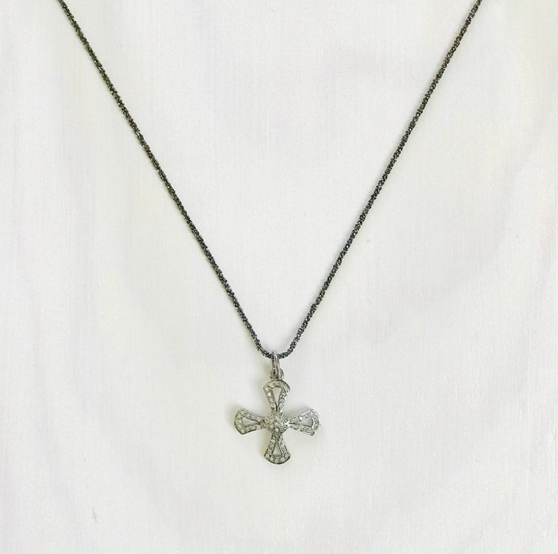 Pave Diamond Cross On Black Sterling Silver Chain