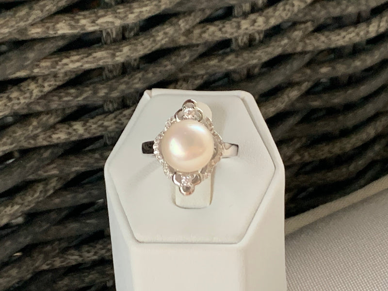 Creamy white pearl/CZ ring (sterling silver)