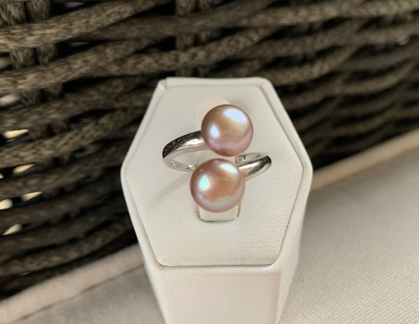 Double Blush Pearl Ring (Sterling Silver)