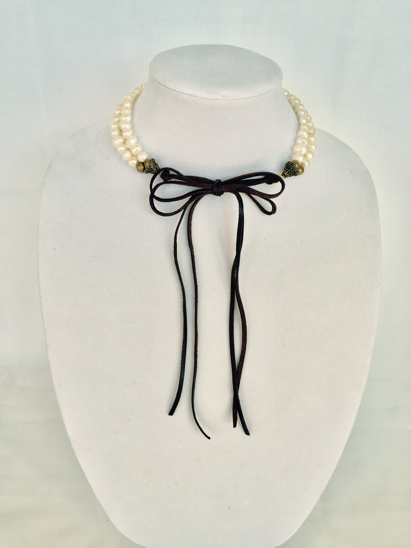 Double Strand Pearl Choker with Deerskin Leather
