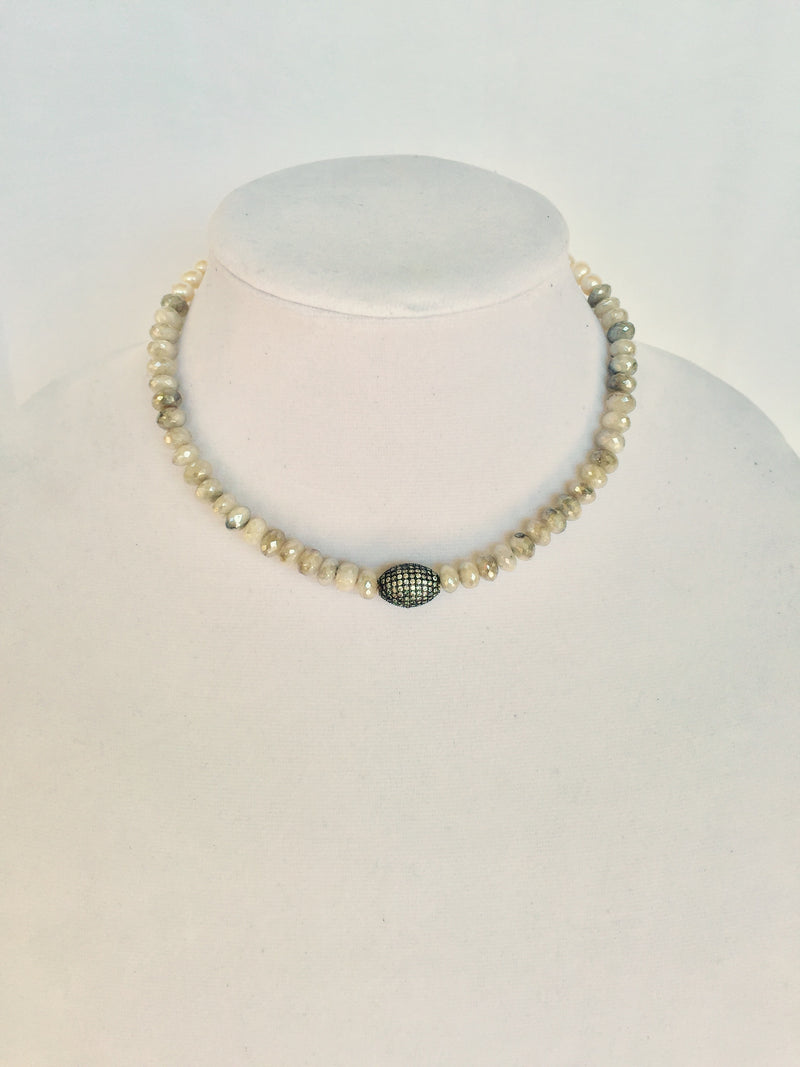 Silverite and Pearl Choker with Pave Gunmetal Focal Bead