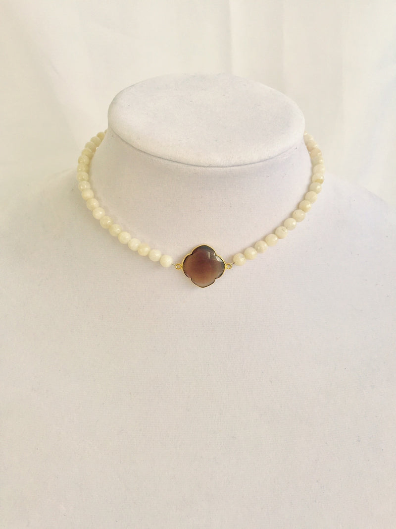 White Moonstone Beads with Amber Quatrefoil Center
