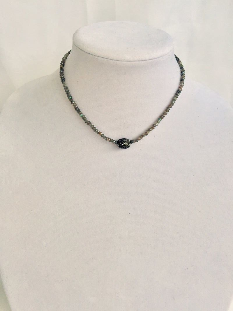 Labradorite Beads with Hematite Pave Focal Bead