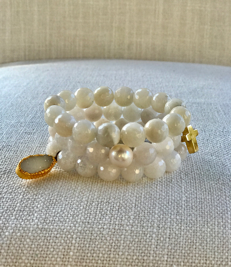 Moonstone and gold stack