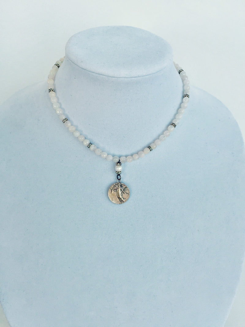 Guardian Angel Bronze Pendant with Moonstone Beads