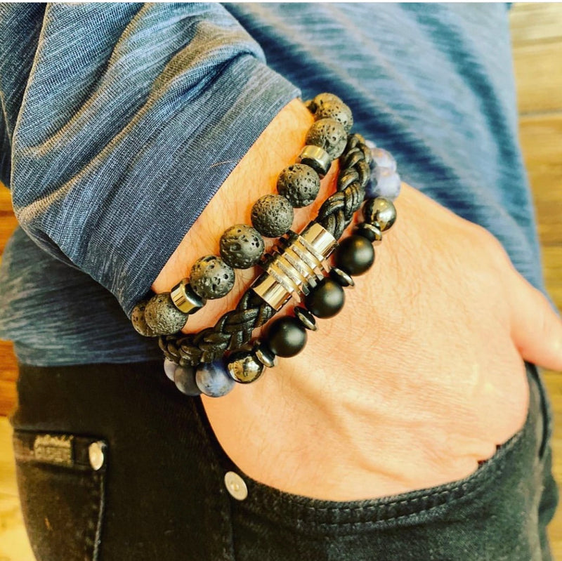 Black & blue mens' stack