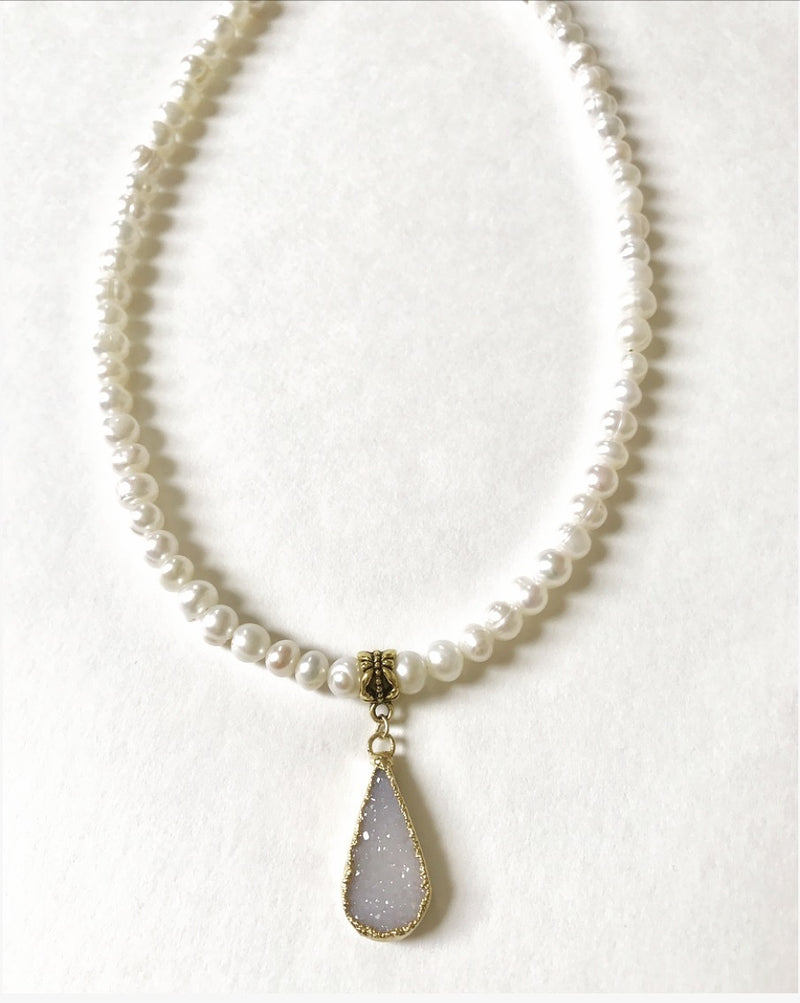 Pearl and druzy necklace