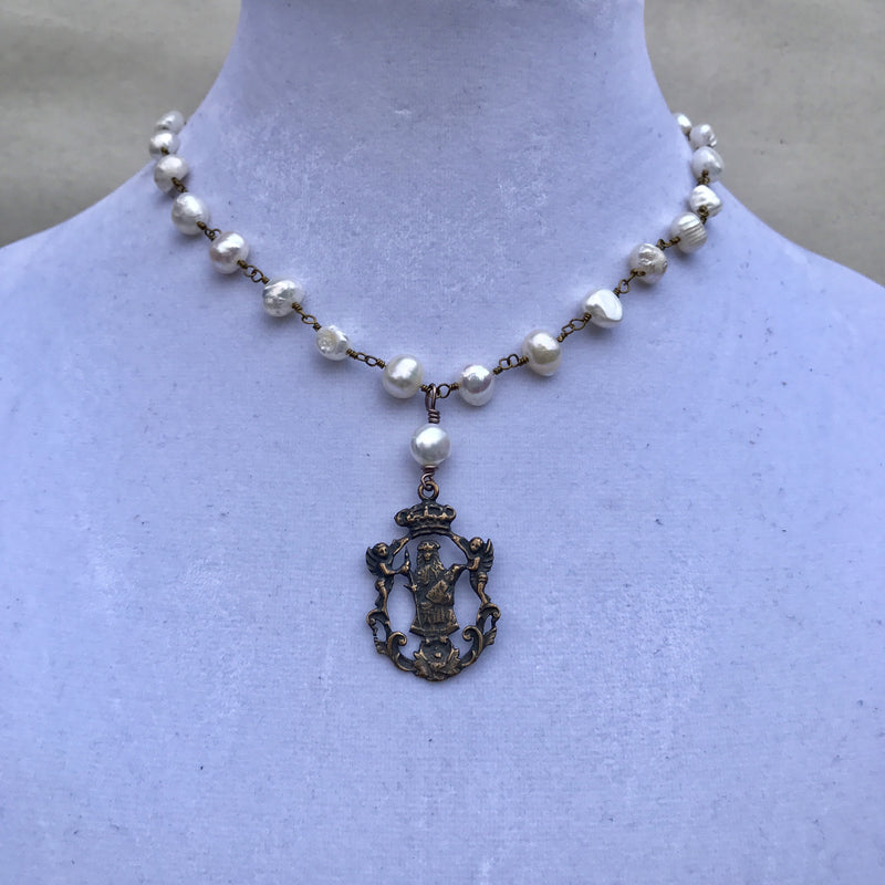 "Freshwater pearl rosary with ""Mary and the Angels"" pendant"