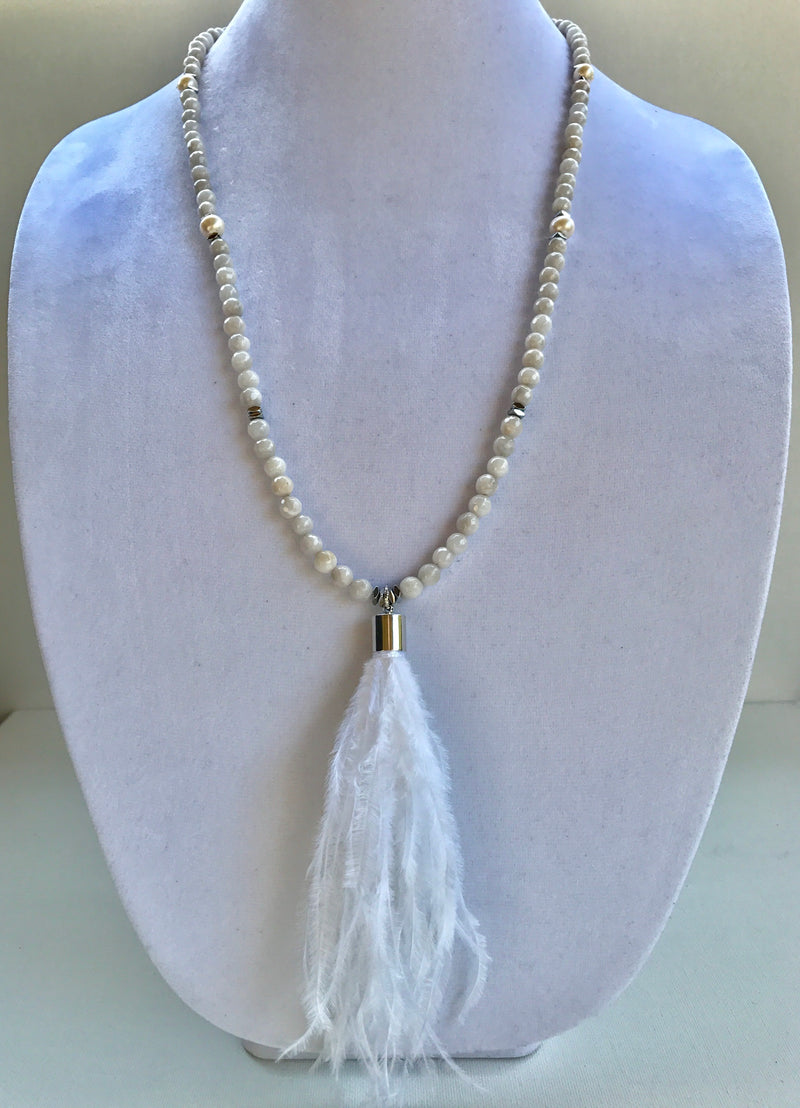 White Swan feather tassel necklace