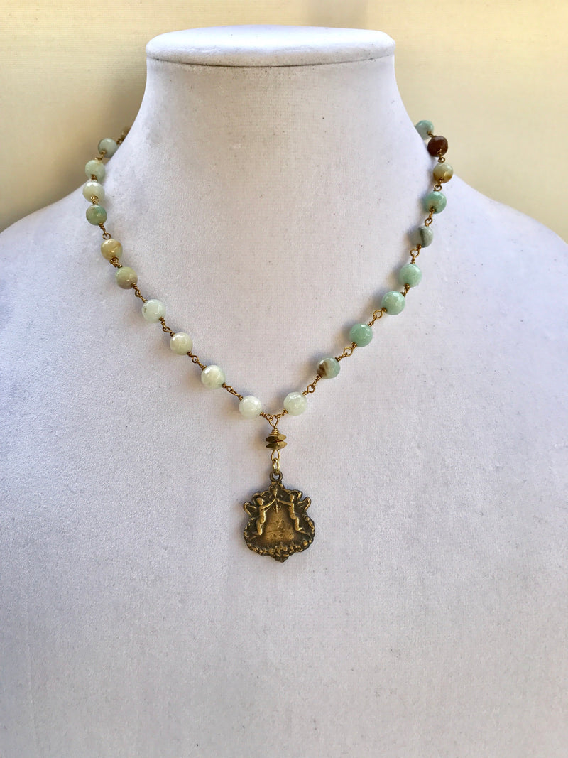 Amazonite necklace with antique bronze pendant