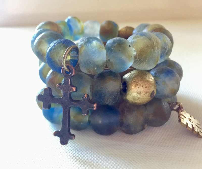 Earth Recycled Bracelets with Dark & Small Brass Cross