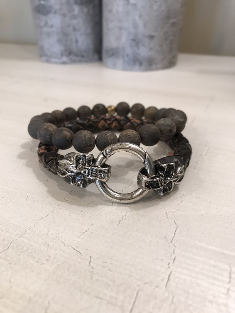 Men's Jasper stone bracelet, and brown distressed leather with stainless steel closure