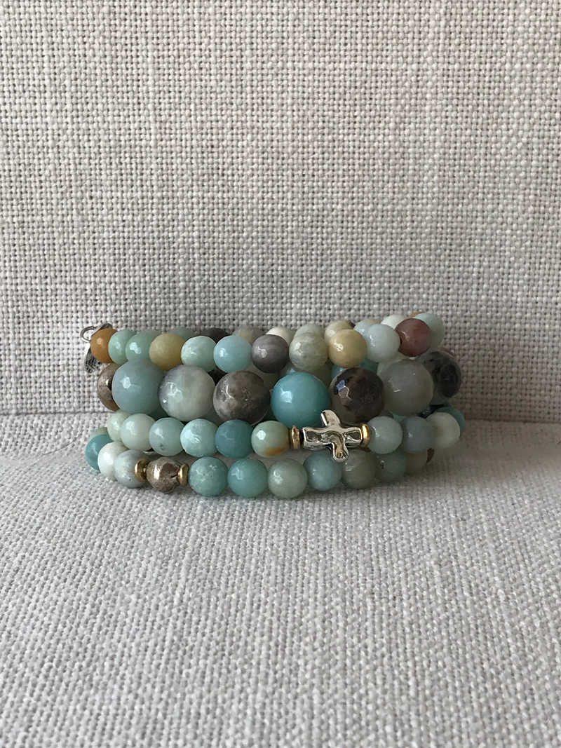 Amazonite stack w/ silver and gold accents