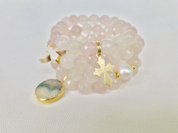 Soft Rose Petal Quartz Stack