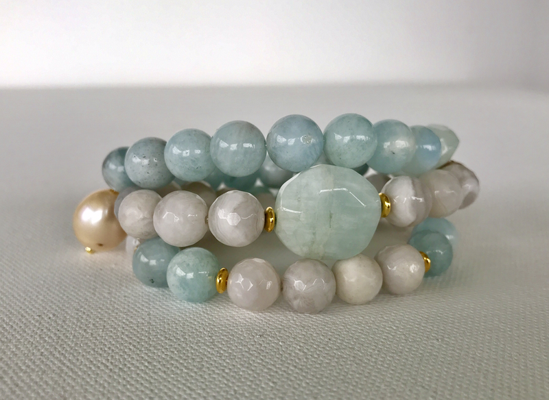 Clear Water Aquamarine & Agate Stack