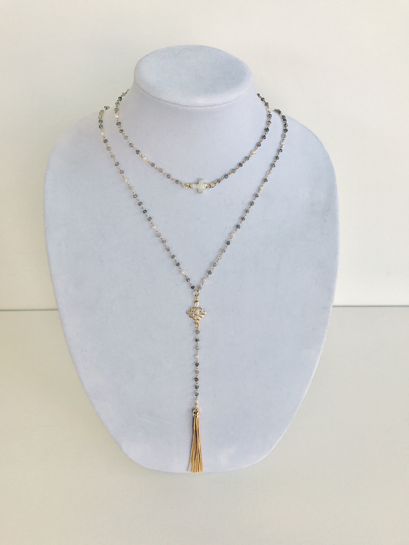 Labradorite & Pearl Rosary with Mother of Pearl and Golden Tassel Pair