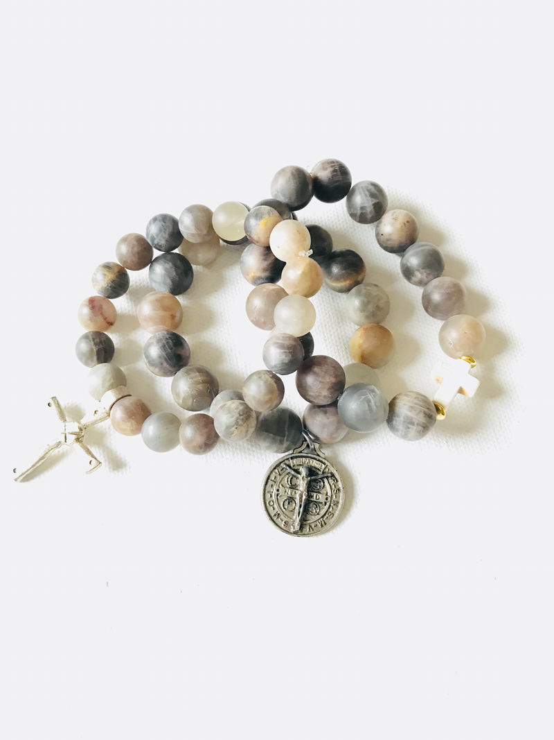 Faith and Love Stack-Matte Sunstone with Religious Metals