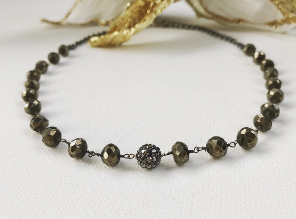 Pyrite necklace with hematite focal