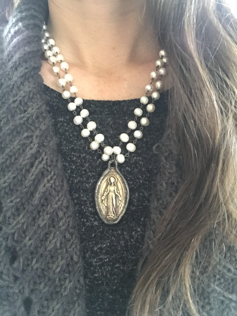 Pearl necklace with soldered Virgin Mary pendant